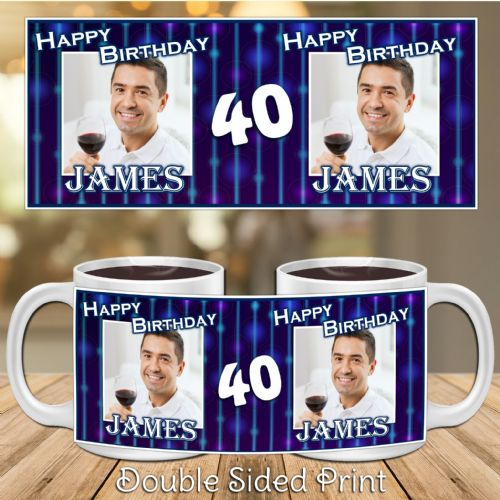 Personalised Blue Glitz Happy Birthday PHOTO Mug N18